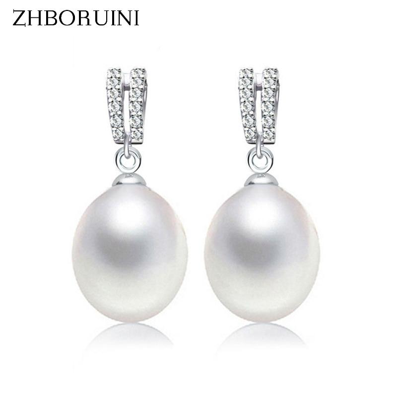 ZHBORUINI 2019 Fashion Pearl Earrings Natural Freshwater Pearl Drop Earrings Double Row 925 Sterling Silver Jewelry For Women