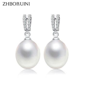 ZHBORUINI 2019 Fashion Pearl Earrings Natural Freshwater Pearl Drop Earrings Double Row 925 Sterling Silver Jewelry For women цена 2017