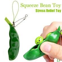 Porte-clés en forme de haricot, jouet créatif et amusant, anti-Stress, en forme de haricot, Edamame, pour sac cadeau, breloques, bibelot