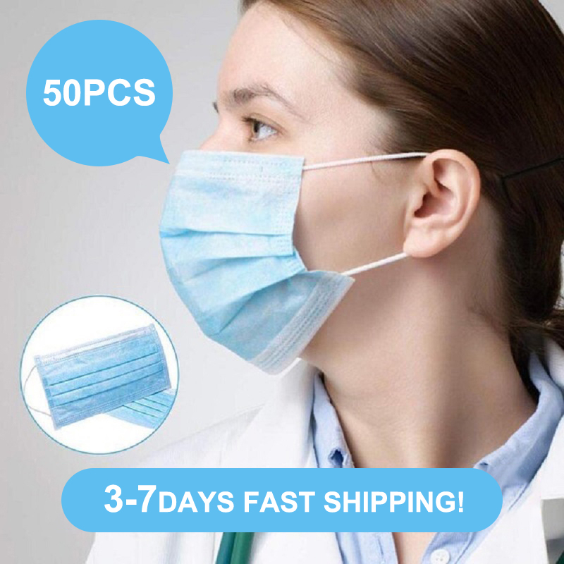 50 Piece Mask Three-Layer Face Mask Anti Virus Anti Bacteria Preventing Germ Mask Unisex Adult And Children Mask Disposable Mask