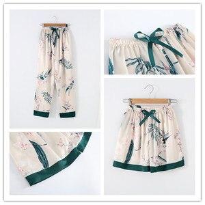 Image 4 - Winter New 7 Pieces Set Women Pajamas Printing Fashion Long Sleeve Pyjamas Set With Chest Pad Spaghetti Strap Sleepwear