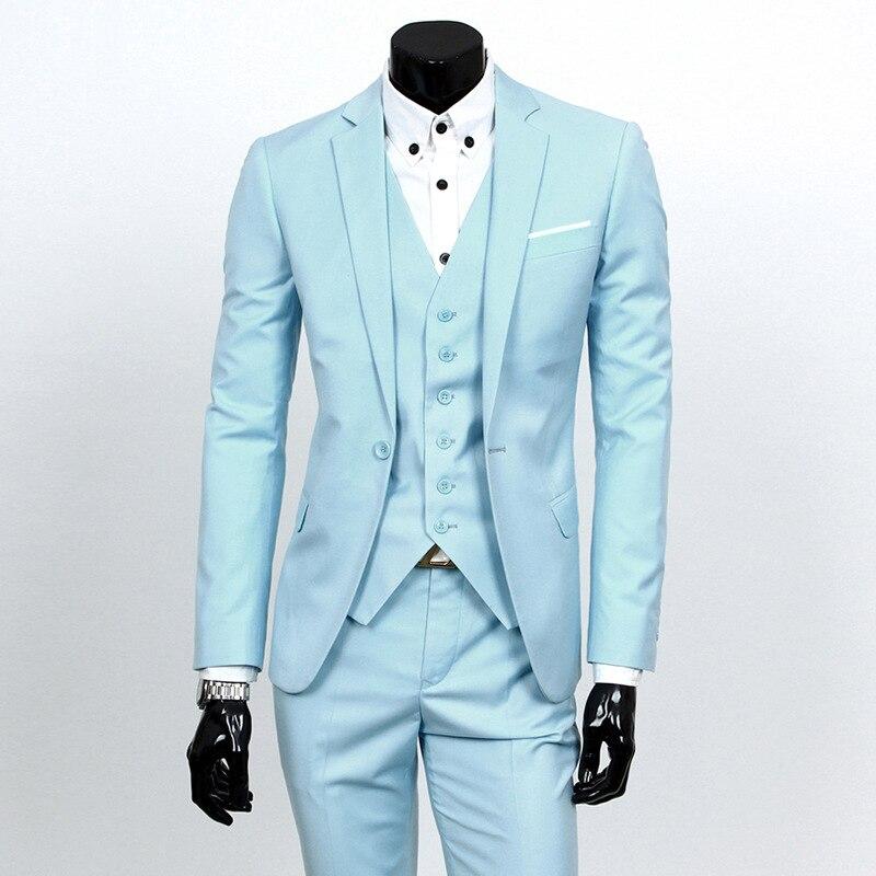 Suit Men Three-piece Set Youth Korean-style Slim Fit Suit Best Man Groom Marriage Formal Dress British-Style Formal Wear