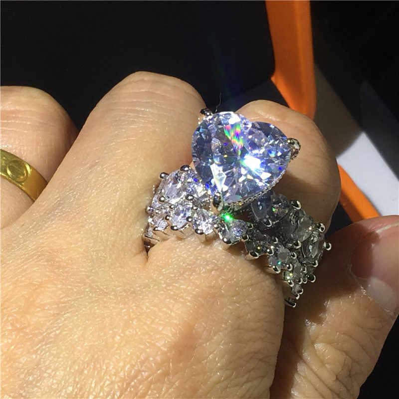 Luxus Herz cut 8ct Sona cz Ring Sets 925 Sterling Silber, Verlobung, Hochzeit Band Ringe für frauen männer Vintage Party schmuck