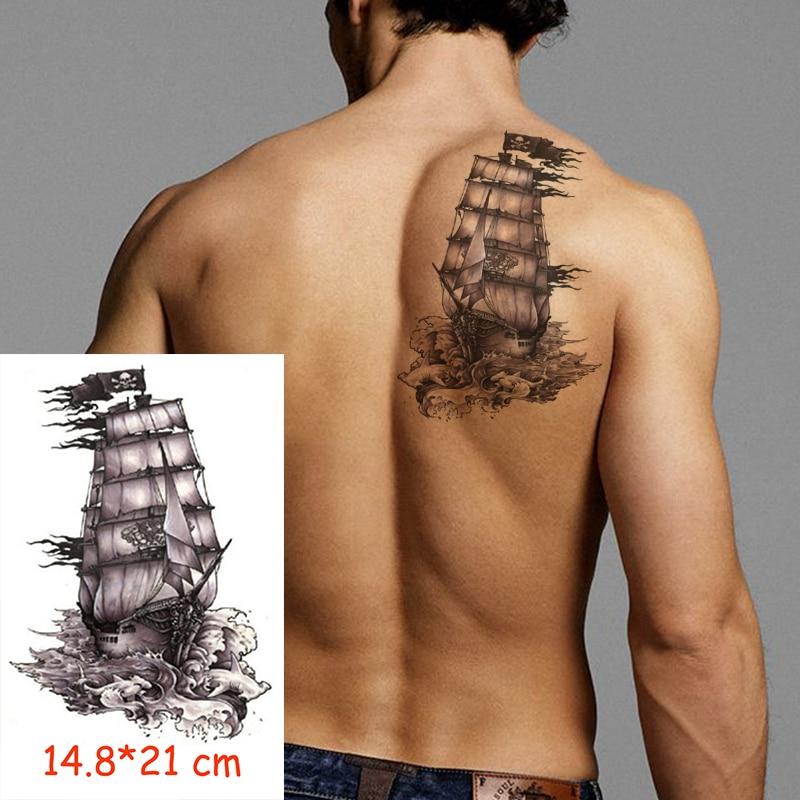 Autocollant De Tatouage Temporaire Impermeable Bateau Pirate Crane Drapeau Tatoo Transfert D Eau Faux Tatoo Flash Tatto Femme Homme Enfant 14 8 21 Cm Aliexpress