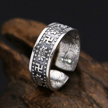 цена 925 Pure Silver Hand-carved Lotus Pattern Retro Personality Trend Ring Thai Pure Silver Jewelry Couple Ring Jewelry Weight 4.6G онлайн в 2017 году