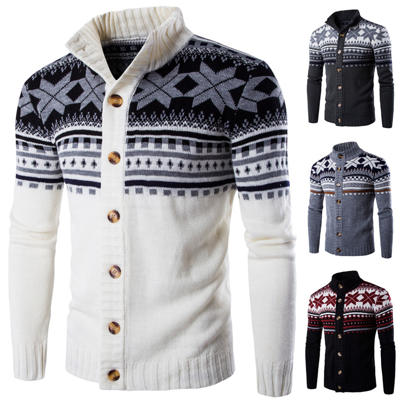Autumn Warm Christmas Sweater Men Fashion Printed Jacket Coat Casual Stand Collar Knitting Mens Cardigan Sweaters