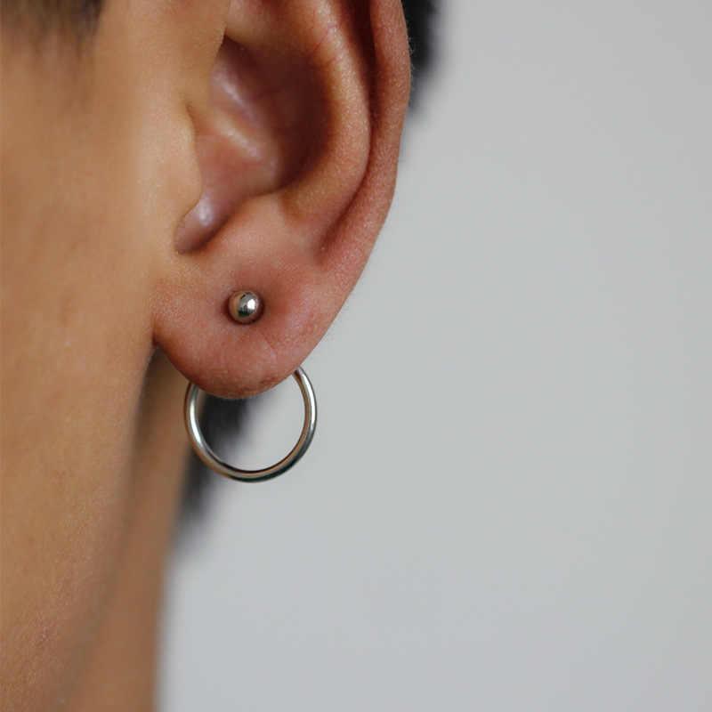 PUNK 2019 แฟชั่นต่างหูใหม่อารมณ์ง่ายและอเนกประสงค์ทองและ Peas กลับแขวนขนาดเล็กรอบต่างหูขายส่ง