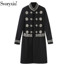 Svoryxiu Designer Winter Womens Vintage Overcoat Fine Embroidery Standing Collar Navy Style Long Coat