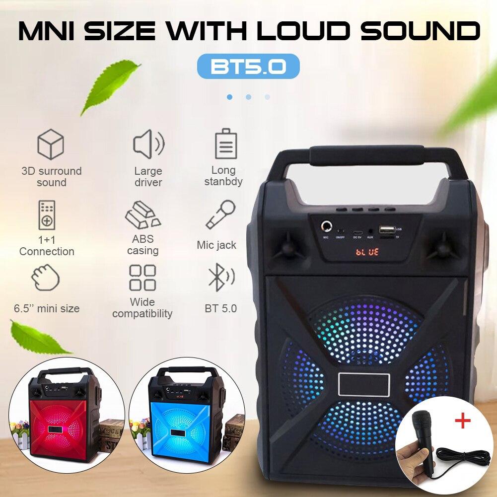 Портативная Bluetooth караоке машина с микрофоном, Громкая колонка с поддержкой tf карты, USB AUX, усилитель, беспроводная уличная колонка|Портативные колонки|   | АлиЭкспресс