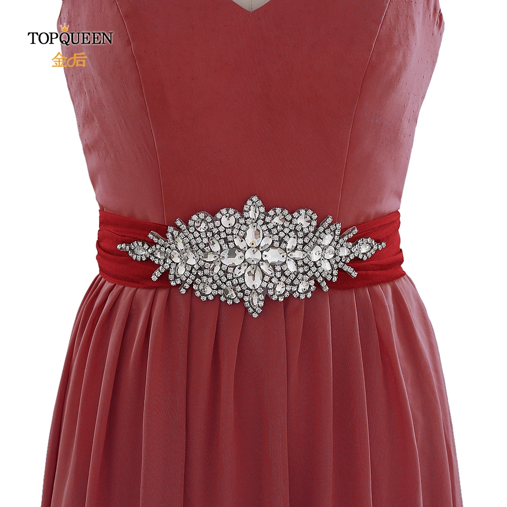 TOPQUEEN S01 Bridal Belt Burgundy Crystal Patches Rhinestones Applique Dress Belt Bride Accessories Belts Sweet Belt