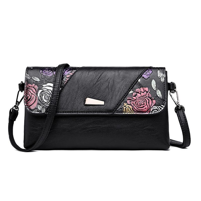 Leather Luxury Handbags Bags For Women 2018 Designer Clutch Bag Day Clutches Hand Painted Flower Women Messenger Shoulder Bag