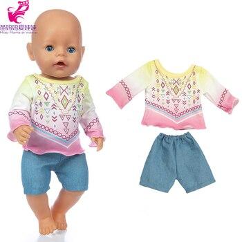 Conjunto 4 en 1 de ropa deportiva, camisa, pantalones y gorra de béisbol, conjunto de 43cm para bebé recién nacido, muñeca, niña para conjunto de ropa de muñeca de 18 pulgadas