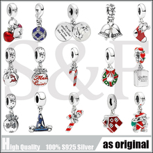 100% Real 925 Sterling Silver Merry Christmas Gift Blue Hat fit Pandora Bracelet, Snowflake Deer Beads,Red Apple House Charm christmas trees red apple crystal cz 925 bracelet