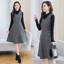 Sweater+Woolen Dress Winter Vintage Two-piece Suit 2021 Autumn Women Wool Dress Sweater Party Bodycon Warm Chic Stripe Vestidos