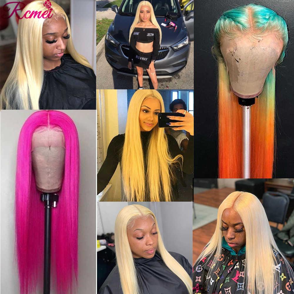 13X4 613 Blonde Kant Voor Menselijk Haar Pruiken Braziliaanse Steil Haar Diepe Middelste Deel 613 Transparant Kant Frontale pruiken Remy 150%