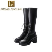 KATELVADI  Hot Sale Winter Lacing Knee High Boots Women Fashion Black Square Heel Woman PU Leather Shoes Size 34-39 K-505