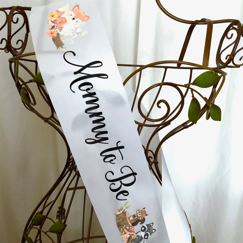 Mom Mother Mommy to Be sash ribbon Animal Jungle theme baby shower Gender Reveal boy girl