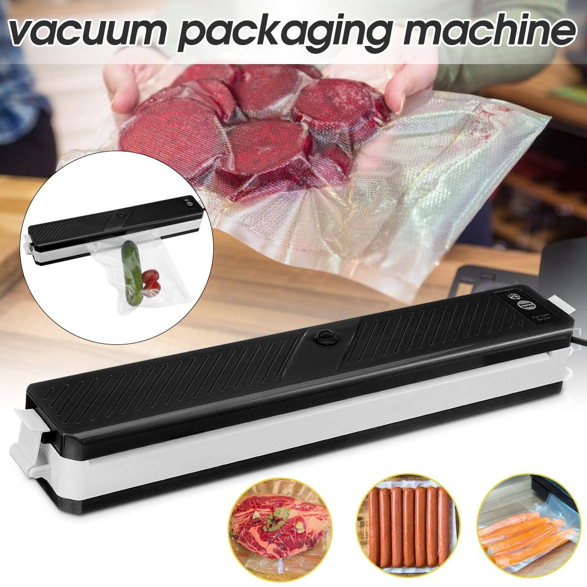 Automatic Household Vacuum Sealer Packing Machine Saver Food Sealing Kitchen Electric Vacuum Sealer Storage Food+10pcs Bag