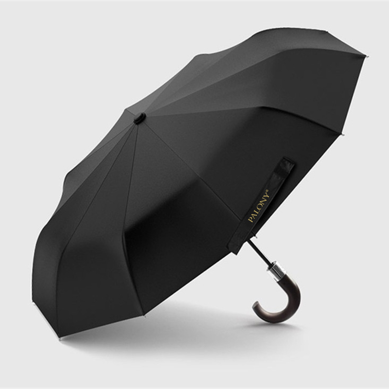 Image 3 - PALONY New Arrival Automatic Men Umbrella Three Fold Wooden 