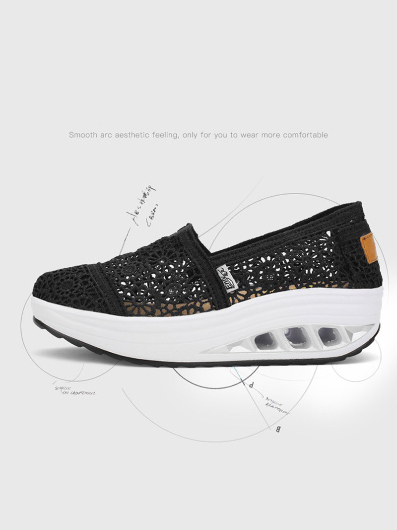 New Spring Summer Hollow Canvas Shoes Women Fashion Lace Slip on Shoes for Women Breathable Platform Shoes 2020 VT750 (1)
