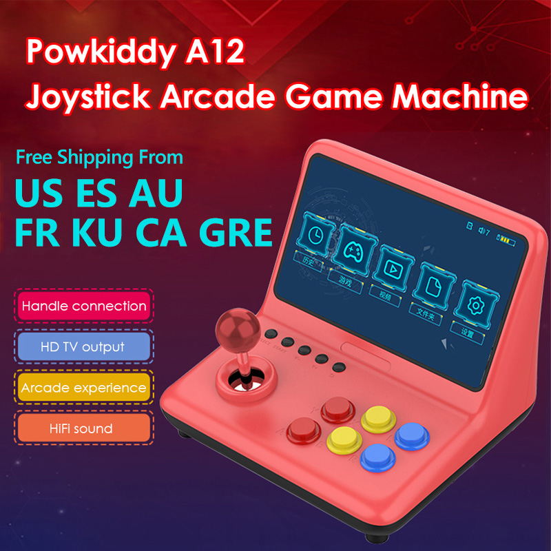 POWKIDDY A12 9 inch Arcade Joystick Game Console 32GB 2000 Games Stick Gaming Video Gamepad 1024 600 Resolution