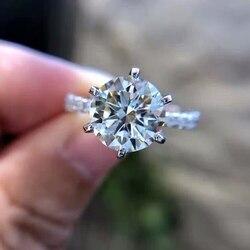 Met Certificaat Luxe 100% Originele 925 Massief Zilveren Ring Topaz 8Mm 2ct Gem Zirconia Diamond Trouwringen Fijne Sieraden j427