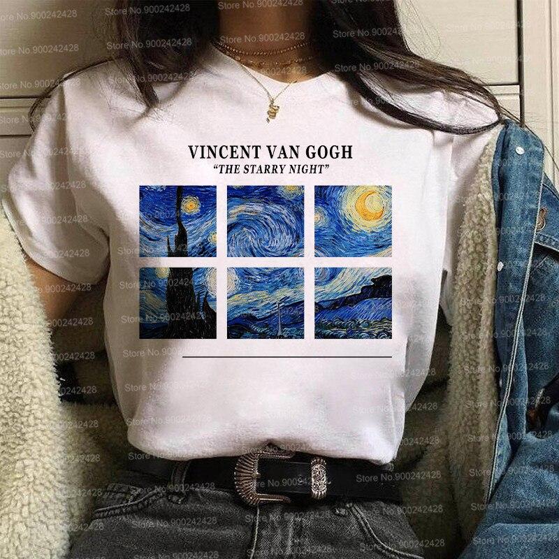 Vintage van gogh estrelado noite gráfico t camisa feminina retro estética pintura a óleo camiseta ulzzang engraçado mona lisa arte david topos