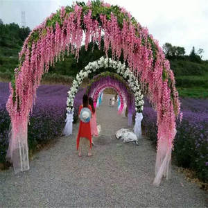 Hanging Artificial Silk Wisteria Fake Garden Flowers Plants Vines Decor DIY Wedding Arch Wreaths Party Decoration Faux Flowers