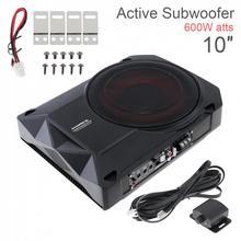 Fuselagem preta universal magro carro ativo subwoofer amplificador alto falante 10 Polegada 600w magro sob o assento baixo subwoofer amplificador