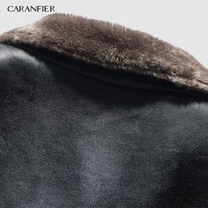 Image 5 - CARANFIER yeni kış motosiklet erkek deri ceket erkekler rüzgarlık PU ceketler erkek dış giyim sıcak PU beyzbol ceketleri boyutu 4XL