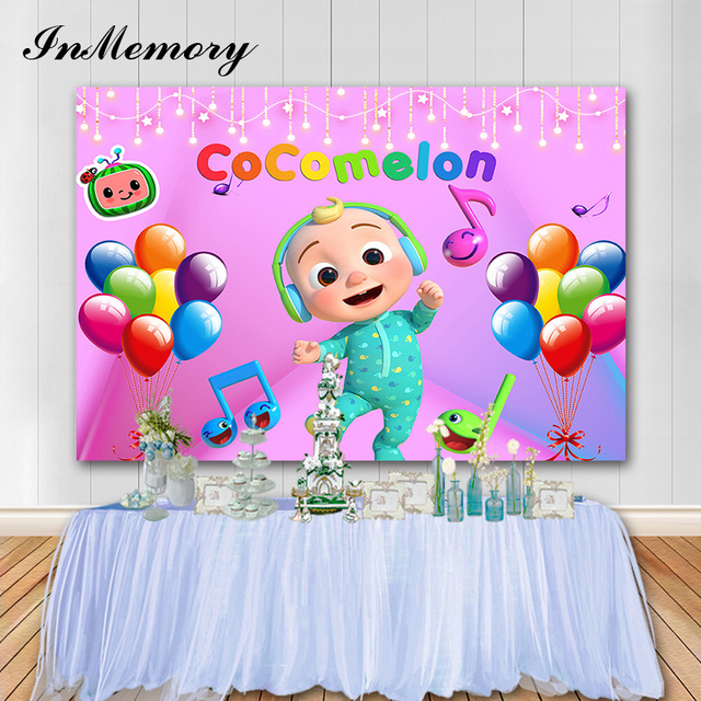 InMemory Music Party Photography Background Cocomelon Children Birthday Decorations Customize Vinyl Photo Backdrops Banner Props