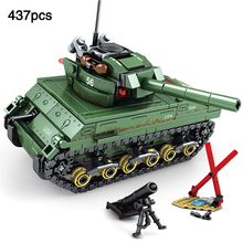 compatible legoingly Military World War 2 US M4 Sherman Tank Minifigs Soldier Figures Army Building Block Toy For Children Gift