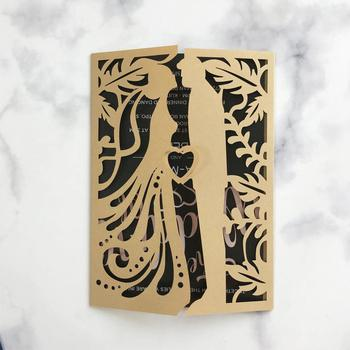 40pcs/lot Romantic Couper Wedding Invitation Card Exquisite Hollow Out Design For Engagements Ceremony Blessing Greeting Card