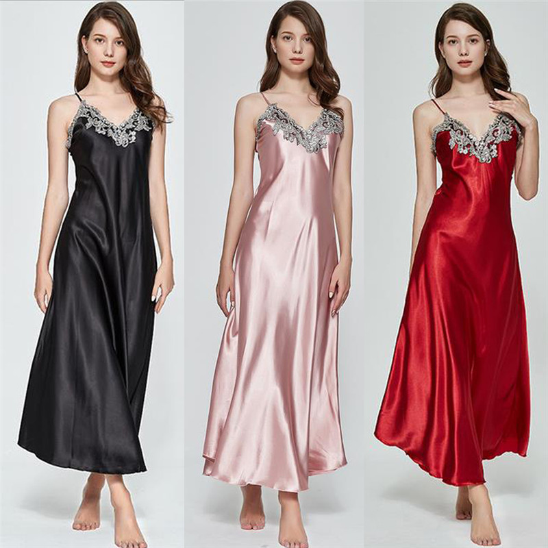 Women Sexy Long Silk Satin V-Neck Sleepwear Lingerie Nightie Nightdress Chemise