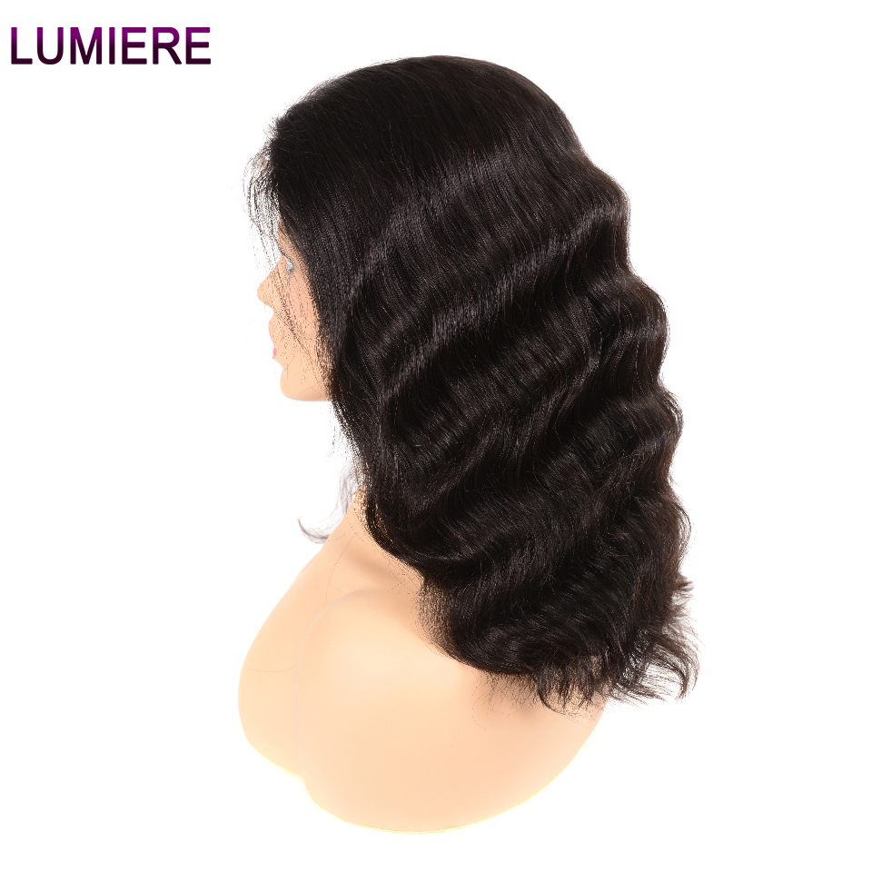 Lumiere Hair Peruvian Body Wave 13X4 Lace Front Human Hair Bob Wig Pre Plucked With Baby Hair Non Remy Free Part Natural Black  グループ上の ヘアエクステンション & ウィッグ からの 人毛レースウィッグ の中 3