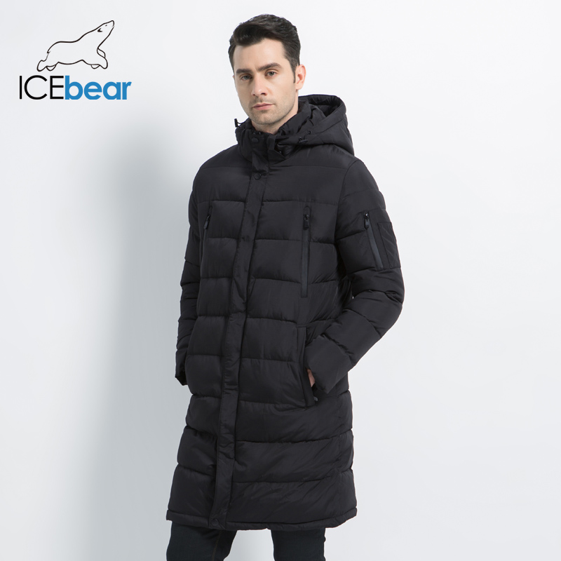 ICEbear 2019 New Clothing Jackets Business Solid   Parka   Fashion Overcoat Outerwear Long Thick Winter Coat Men 16M298D