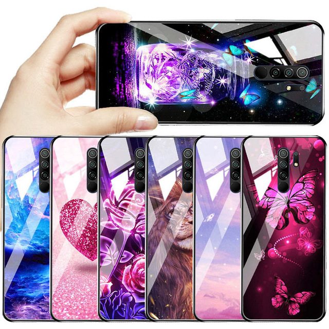 Soft Painted For Xiaomi Redmi Note 9 Pro Cases 8 9T 8T Tempered Glass Cover For Xiaomi Note8 7 Pro Redmi7 Cover Hard PC Bumper