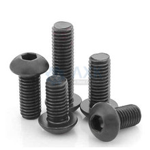 M2 M2.5 M3 M4 M5 M6 M8 M10 Grade 10.9 Alloy Steel Screws Hex Socket Round Head Cap Black Screw Furniture Fastener Bolt