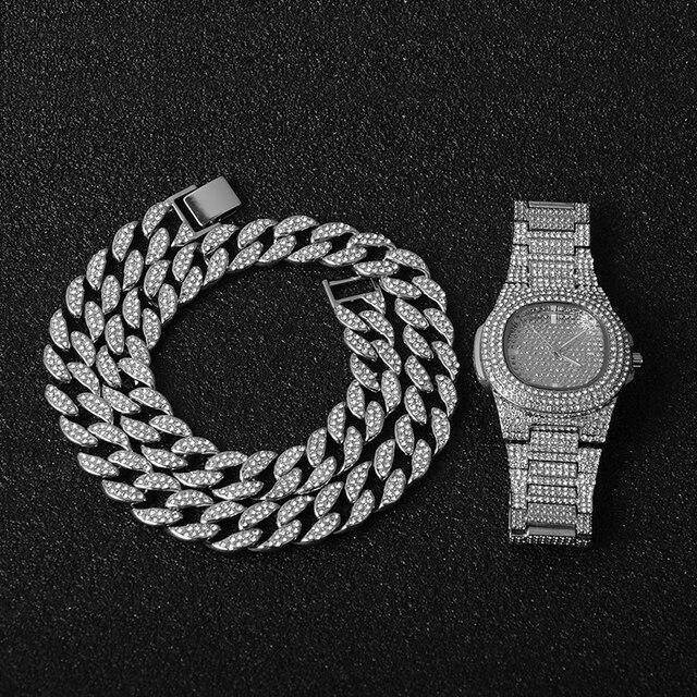 Oro Hip Hop Miami Curb cadena cubana con piedras de imitación incrustadas CZ Bling rapero collar de oro + reloj + pulsera de joyería para hombres 4