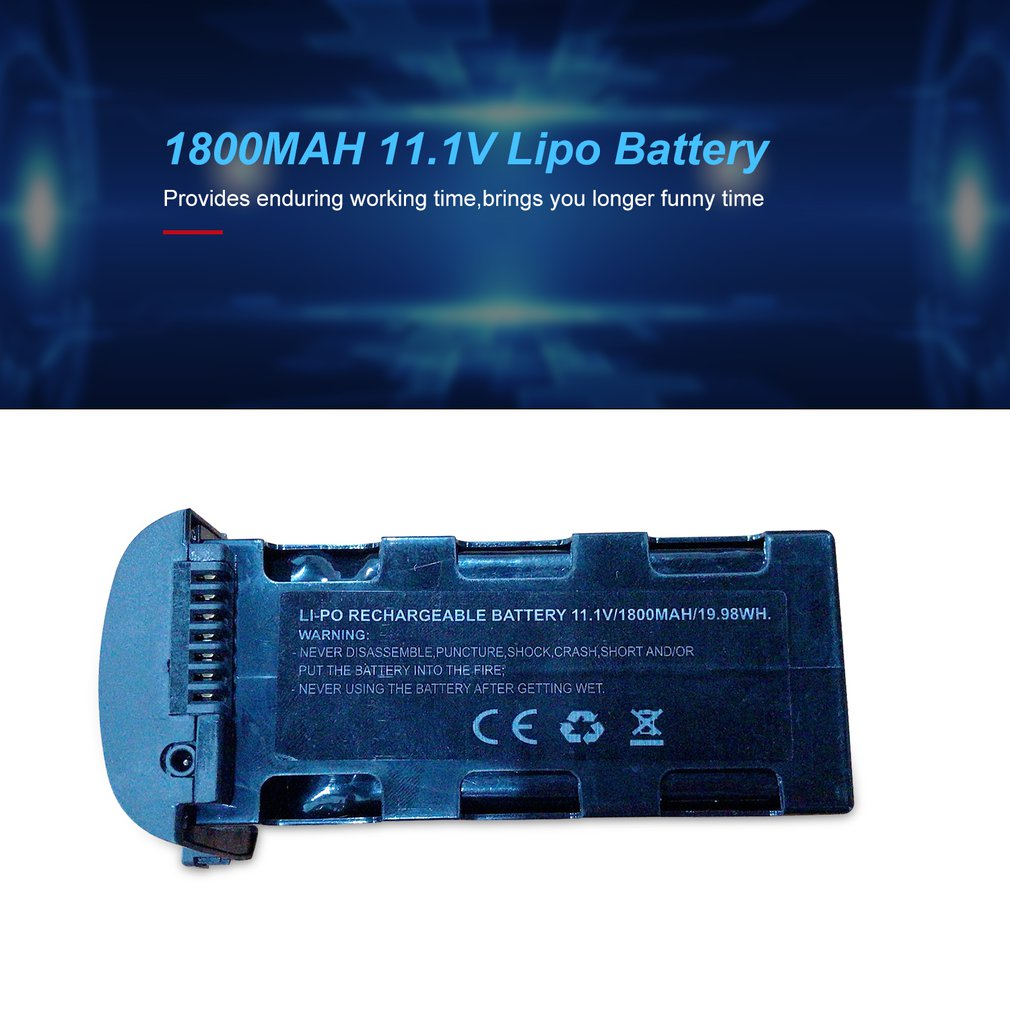 Hot New 3S 25C 11.1V 1800MAH Lipo Battery Replace Rechargeable Batteries For SMRC ICAT6 RC Drone Spare Upgrade Parts Accessories