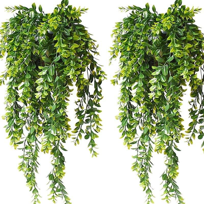 4 шт. искусственные Подвесные Растения зеленые листья Плющ Искусственный пластик поддельные подвесные гирлянды Плющ лоза для украшения сад...