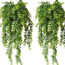 4 pçs plantas de suspensão artificial folhas verdes hera falso plástico pendurado guirlanda ivy videira para decoração do jardim