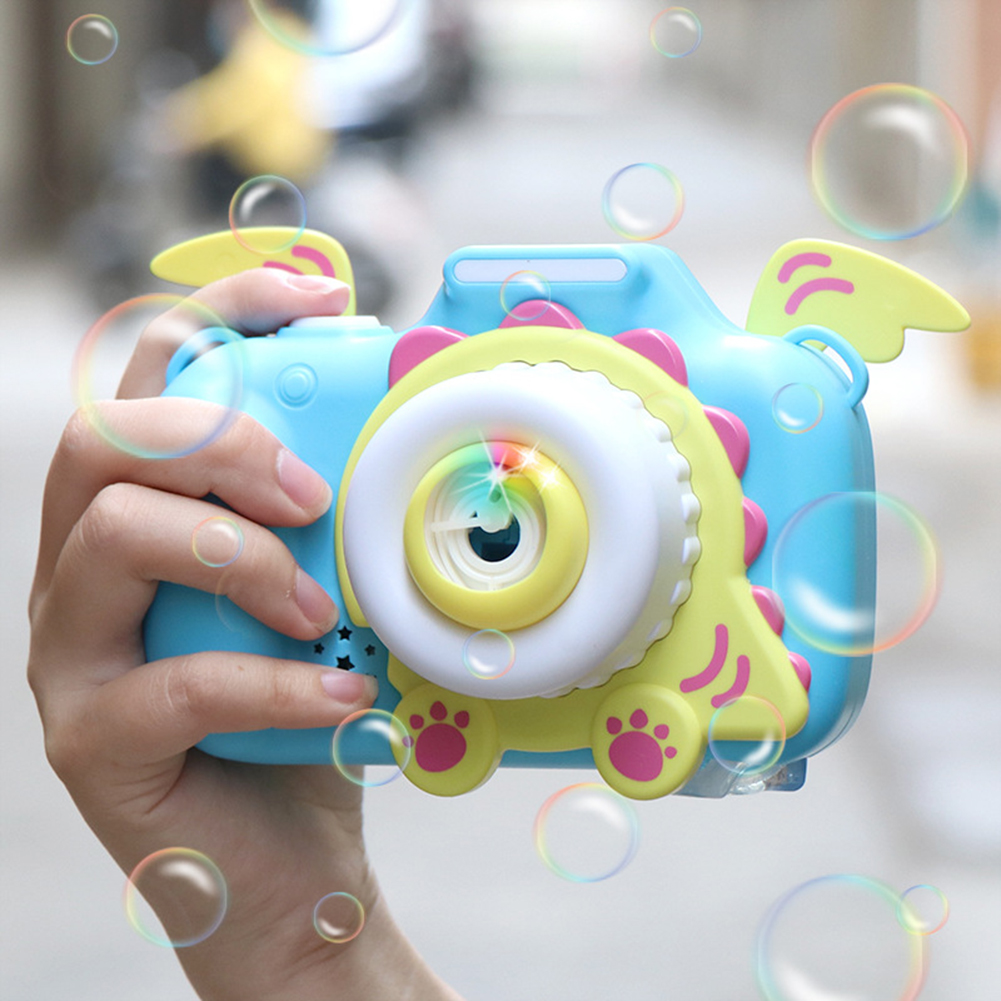 Kids Cartoon Bubble Camera Sound Light Automatic Blowing Bubble Machine Toy Music Light Summer Outdoor Children Toys