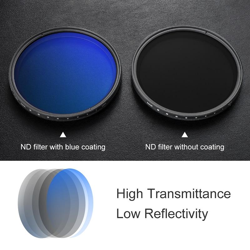 K & F Concept ND2 à ND400 ND lentille filtre mince Fader Variable réglable densité neutre 49mm 52mm 58mm 62mm 67mm 77mm