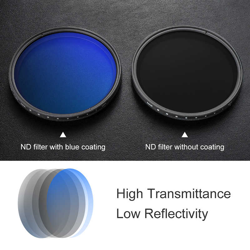82 mm Mooyod Fader Filtro de densidad neutra ajustable ND2 a ND400 para lente de c/ámara