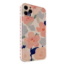Cute Retro Painting Flower Red Floral Love Heart Bumper Frame Cases for iPhone 12 11 Pro XS Max XR X 8 7 Plus SE 2020 Soft Cover