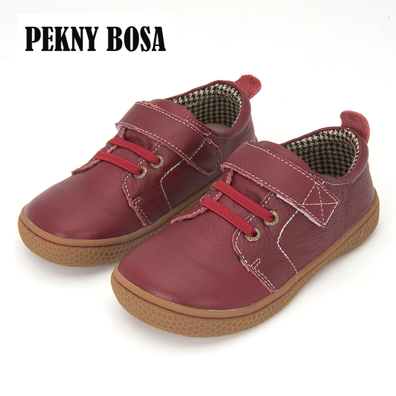 PEKNY BOSA Brand Kids Leather Shoes Children Barefoot Shoes For Boys Unisex Orthotic Shoes Girls Size 31-35 Brown Red Color