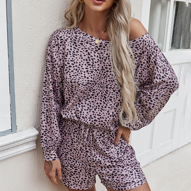 Simplee Casual polk dot print two pieces women set spring Long sleeves top and shorts leisure wear female Fashion basic suit new 5