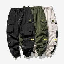 2020 novo hip hop joggers calças de carga dos homens harém calças multi-bolso fitas homem moletom streetwear casual calças masculinas S-5XL