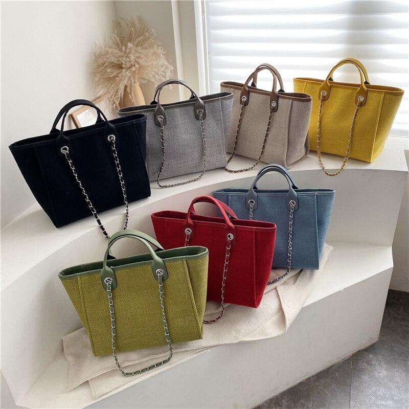 Wholesale New Handbags Chains Shoulder Bags Ladies Fashion Brand Cotton Fabric Women Messenger Bags